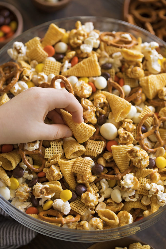 A close up of sweet and salty Thanksgiving snack mix.