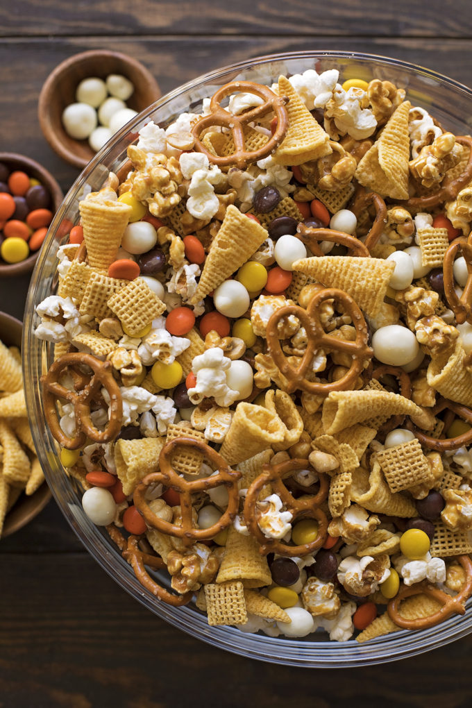 Easy, 10 minute Thanksgiving snack mix loaded with sweet and salty ingredients.