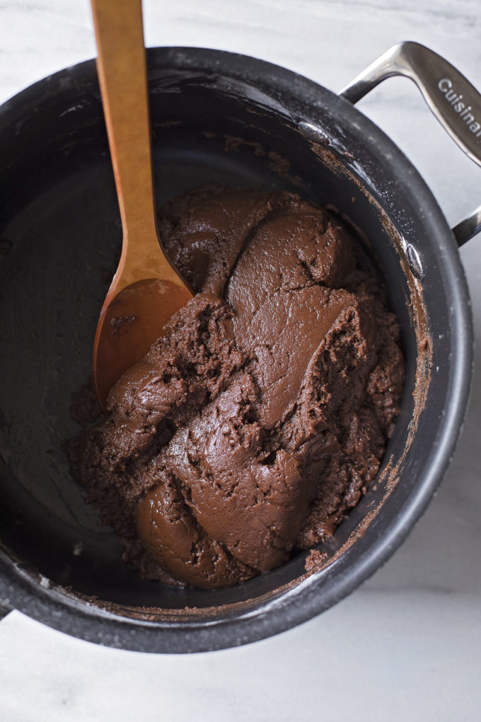 The dough for chocolate mint sandwich cookies.