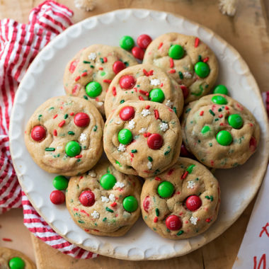 Santa's Cookies are festive, fun and loaded with M&M candies and sprinkles.
