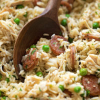 Looking for a simple yet flavorful meal for a busy weeknight? Try this chicken, sausage and rice skillet!