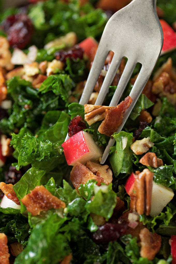 A fork full of cranberry apple pecan kale salad.