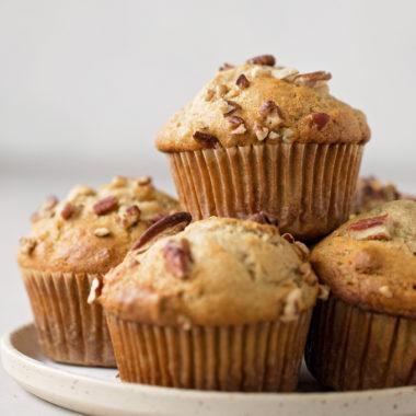 Tender, sweet banana nut muffins.