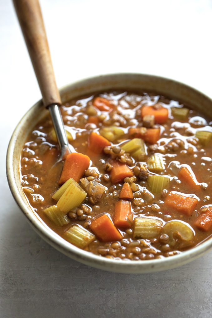 A bowl of easy vegetable lentil soup is perfect for a cold day.