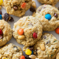 A pile of freshly baked trail mix oatmeal cookies.