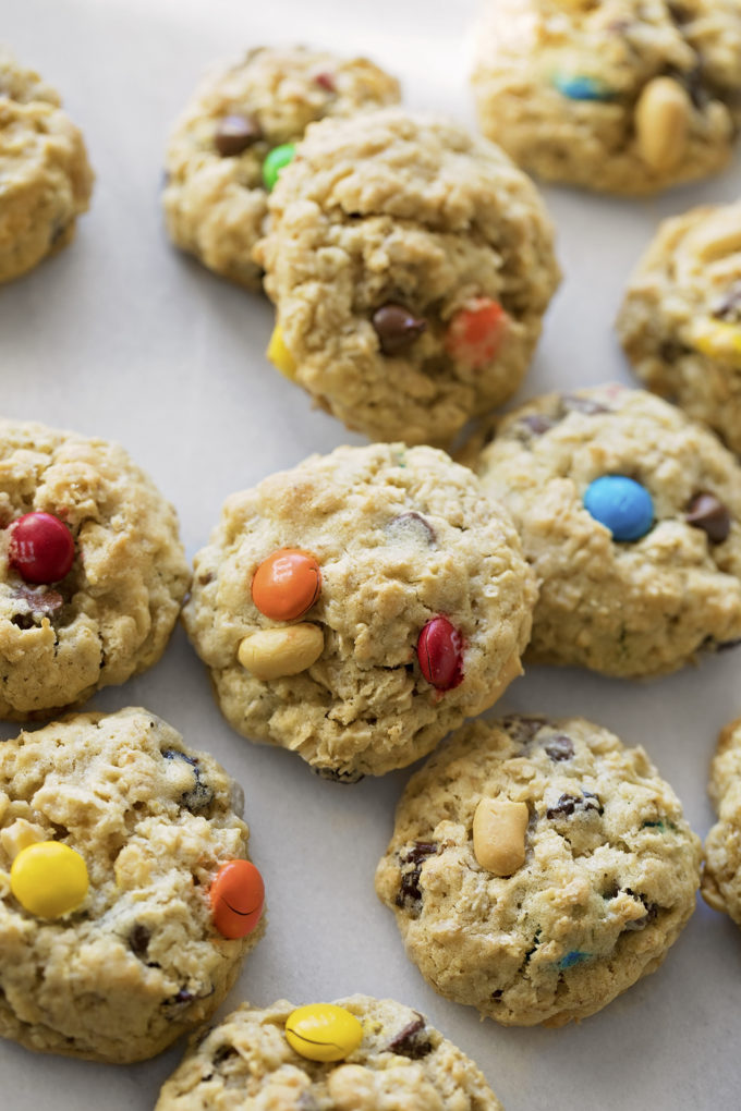 Soft, chewy trail mix oatmeal cookies.