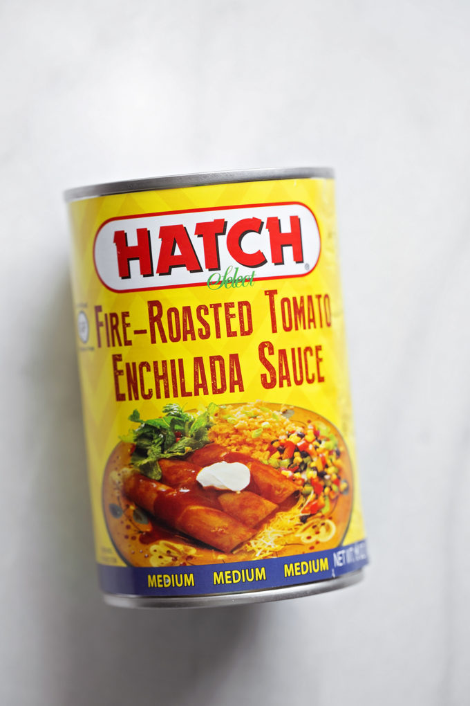 A can of my favorite enchilada sauce to use in chicken tortilla casserole.