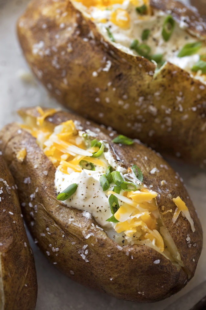 A close up of a loaded easy Instant Pot baked potato.