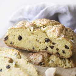 A close up of the inside of easy Irish soda bread.