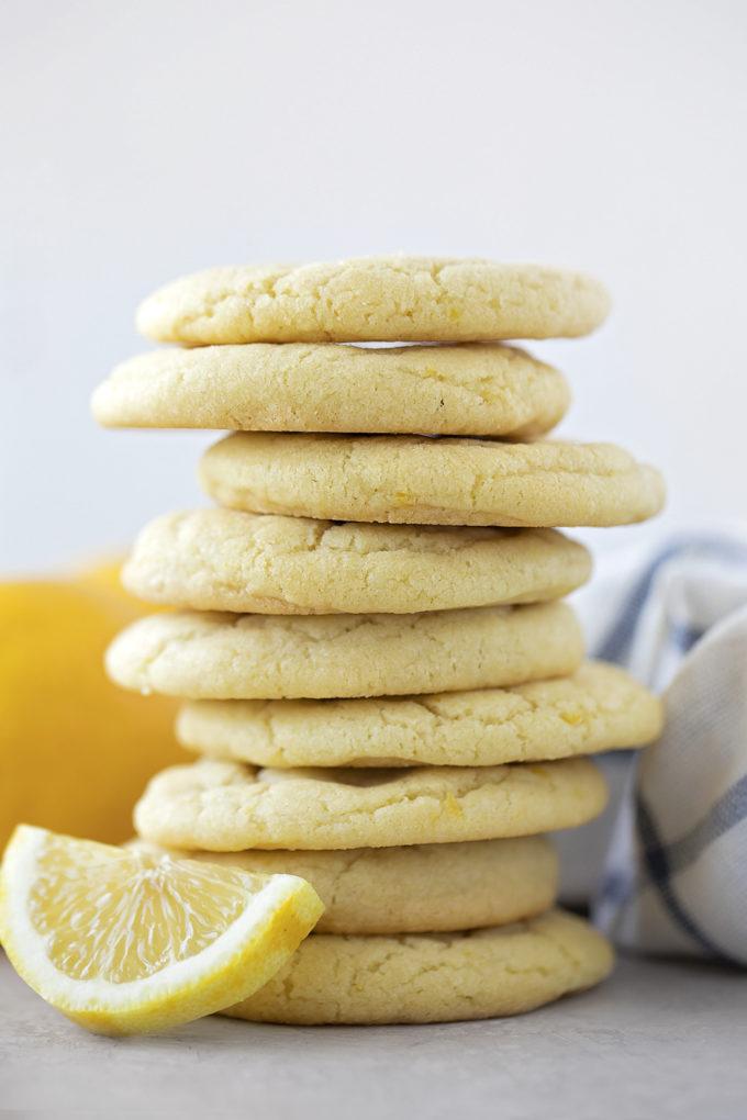 A stack of easy lemon sugar cookies.