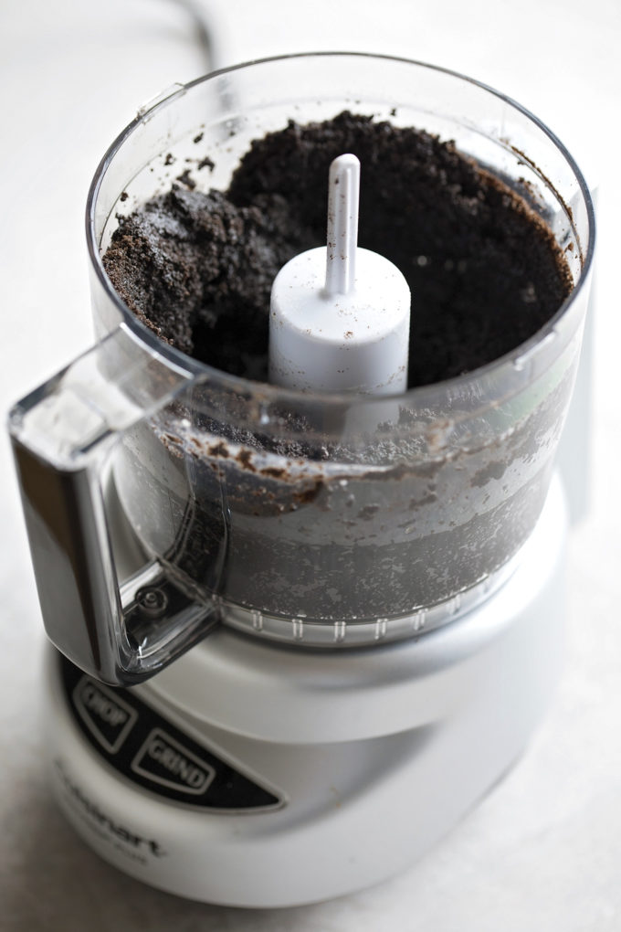 The oreo cookie base is made in a food processor for ease.