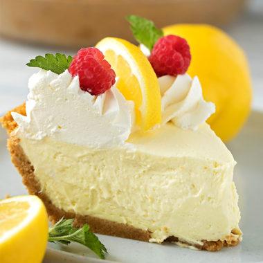 A slice of cool, creamy heavenly lemon cream pie.