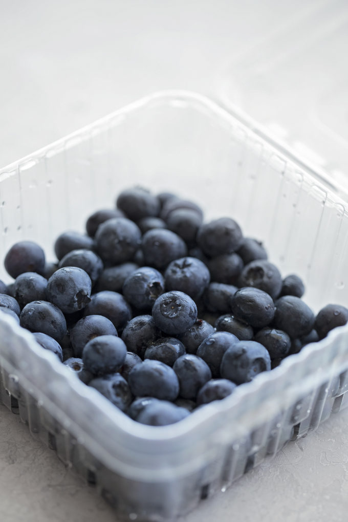 Fresh blueberries rinsed and ready to be coated in flour for the lemon blueberry bread.