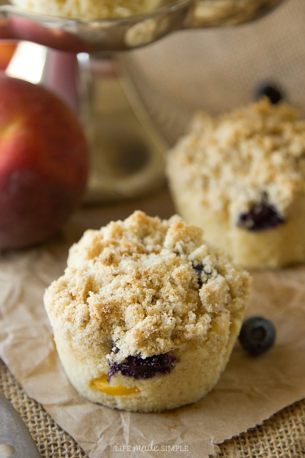 Blueberry Peach Coffee Cake Muffins - Life Made Simple