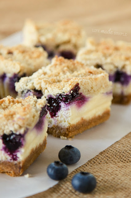 Blueberry Crumble Cheesecake Bars | Life Made Simple