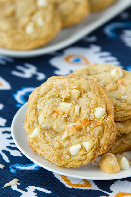 White Chocolate Macadamia Cookies with Toasted Coconut